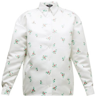 Rochas Floral-print Duchess-satin Shirt - Womens - White