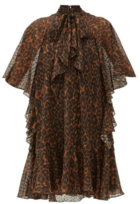 Erdem Elviretta Leopard-print Georgette Mini Dress - Womens - Leopard