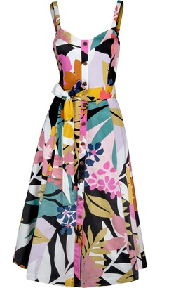 Rachel Roy Tropical Floral Belted Sundress