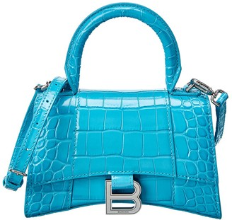 Balenciaga Hourglass Xs Croc-Embossed Leather Top Handle Satchel