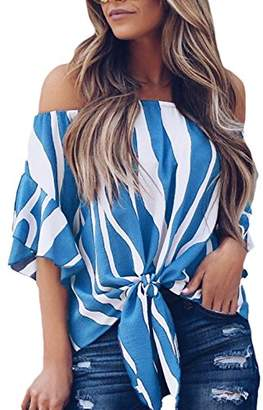 Actloe Women Casual Off The Shoulder Striped Printed Shirts Bell Sleeve Front Tie Knot Blouses and Tops L