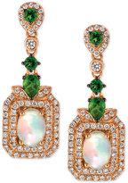 LeVian Le Vian® Opal (9/10 ct. t.w.), Diamond (5/8 ct. t.w.) and Diopside (5/8 ct. t.w.) Drop Earrings in 14k Rose Gold, Only at Macy's