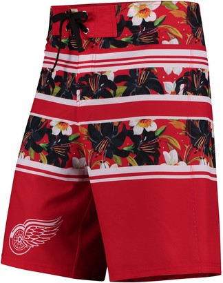 Men's Red Detroit Red Wings Floral Stripe Boardshorts