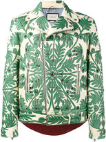 Gucci foliage motif leather jacket - men - Silk/Deer Skin/Viscose/Brass - 48