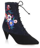 Tory Burch Cassidy Lace-Up Embroidered Booties