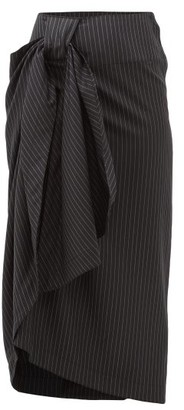 Edward Crutchley Pinstriped Wool Twill Midi Skirt - Womens - Black