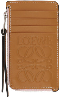 Loewe Tan and Pink Coin Card Holder