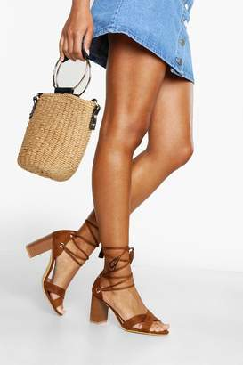 boohoo Wide Fit Lace Up Block Heels