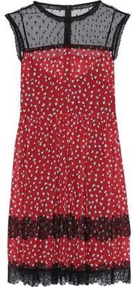 RED Valentino Point D'esprit-paneled Silk-chiffon Mini Dress