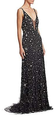 07bc608f9c7a Jenny Packham Women's Sleeveless V-Neck Crystal Star Gown