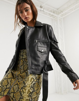 Barneys New York boxy leather jacket with belt in black