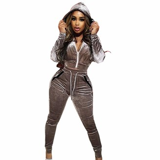Jiegorge Women Suits & Sets Women's Fashion Hooded Long Sleeve Slim Zipper Sports Casual Velvet Suit