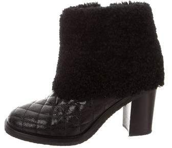 Chanel Quilted Leather Ankle Boots