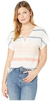 Tribal V-Neck Blouse w/ Cord (Deep Coral) Women's Clothing