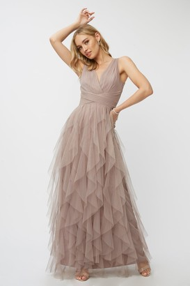Little Mistress Bridesmaid Leonora Oyster Ruffle Mesh Maxi Dress