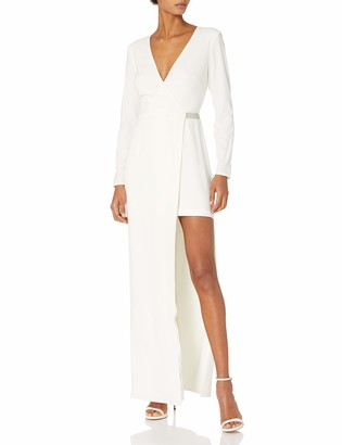 Halston Women's Longsleeve V Neck Gown with Asymmetrical Skirt and Chain