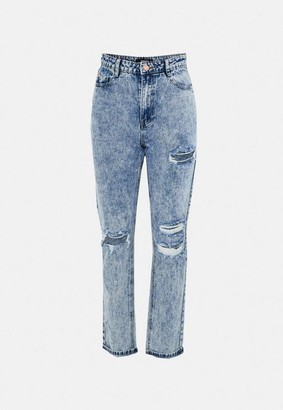 Missguided Wrath Distressed Slash Straight Leg Jeans