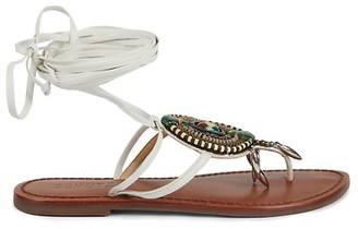 Schutz Embellished Suede Thong Sandals