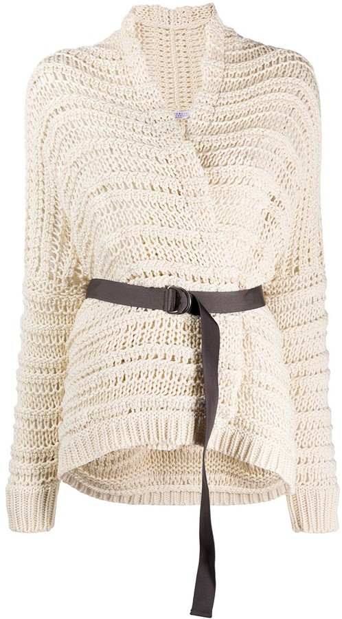 Open Knit Belted Cardigan
