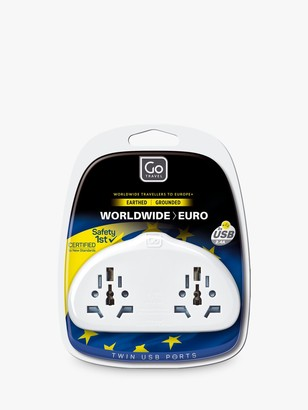 Go Travel Duo USB World to EU Travel Adaptor