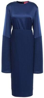 SOLACE London Emilline Satin And Plisse-crepe Dress
