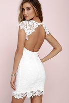 LuLu*s Hidden Talent Backless Sage Green Lace Dress