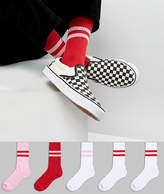 Asos Tube Style Socks In Red & Pink 5 Pack