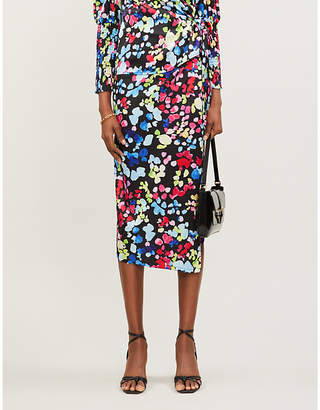 NEVER FULLY DRESSED Jaspre floral-print satin midi skirt