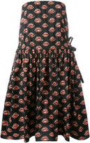 Prada lip print strapless dress - women - Cotton/Spandex/Elastane - 38