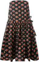 Prada lip print strapless dress