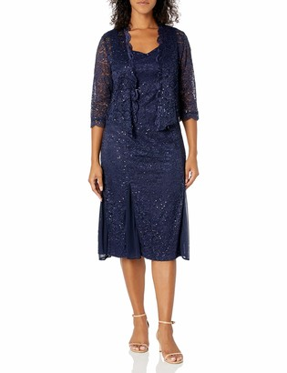 R & M Richards R&M Richards Women's Petite Size 2 Piece Metalic lace Short Jacket Dress