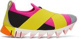 Dolce & Gabbana Pink and Yellow Ibiza Slip-on Sneakers