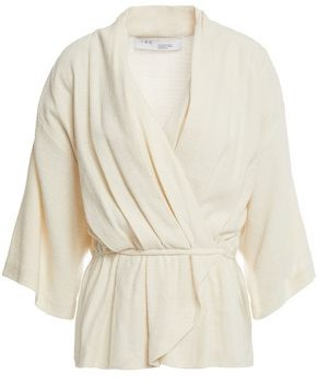 IRO Wrap-effect Pleated Linen And Silk-blend Top