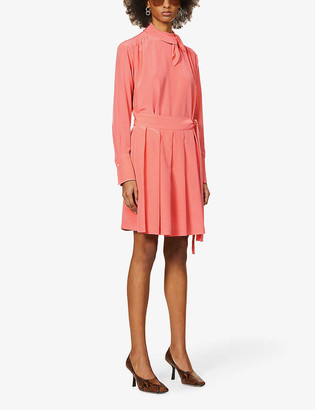 Victoria Victoria Beckham Tie-neck pleated silk-crepe midi dress