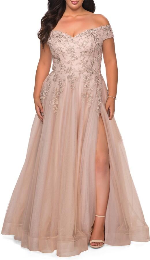 La Femme Lace & Tulle Off-Shoulder Gown