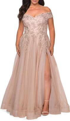 La Femme Lace & Tulle Off-Shoulder Gown