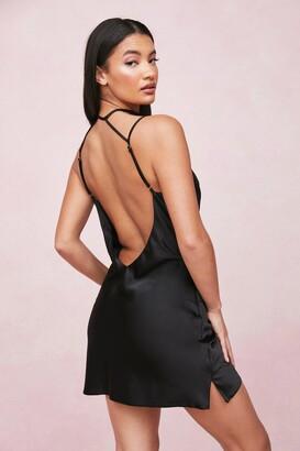 Nasty Gal Womens Choker Cowl Neck Satin Slip Mini Dress - Black - 8