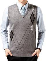 WEILAI Men's Fahion Grid Wool Solid V-Neck Sweater Soft Vest (L, )