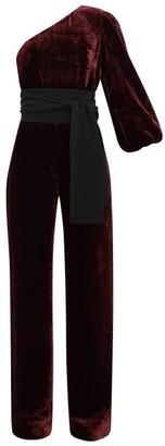 Saloni Lily One-shoulder Velvet Jumpsuit - Burgundy