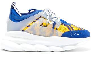 Versace Chain Reaction Twill And Suede Trainers - Mens - Blue Multi