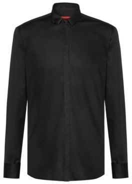 HUGO BOSS Extra Slim Fit Dress Shirt In Cotton Sateen - Black