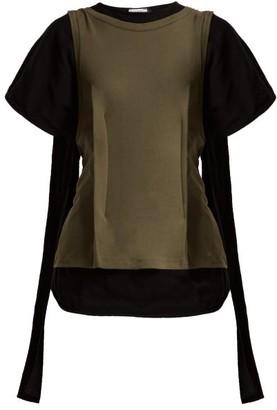 J.W.Anderson Double Layer Cotton-jersey Drape-back Top - Womens - Black Multi