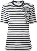 Carven floral patch striped T-shirt - women - Cotton - S