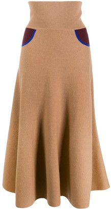 Loewe Contrast Details Long Knitted Skirt