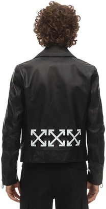 Off-White Logo Print Leather Biker Jacket