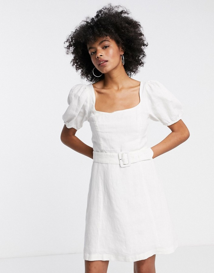 Thumbnail for your product : And other stories & smocked back linen balloon dress in cream