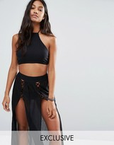 Wolfwhistle Wolf & Whistle Lattice Crop Beach Top Co-Ord