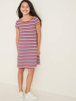 Old Navy Striped Rib-Knit Swing Dress for Girls