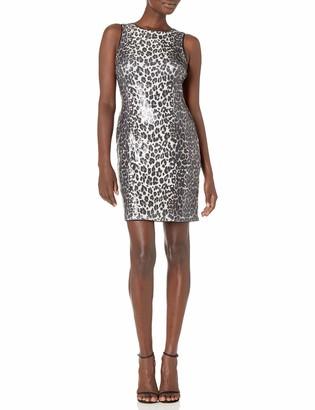 Vince Camuto Women's Elegand Leopard Sequin Halter Dress