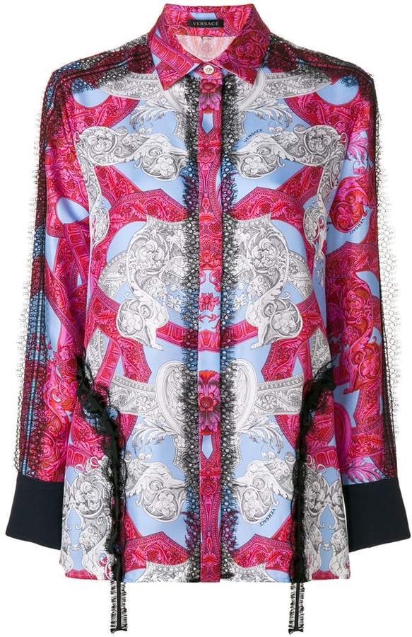 Versace lace trim printed shirt